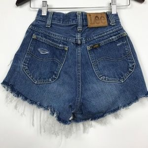 Lee 7 Denim Shorts Distressed High Waist Vintage